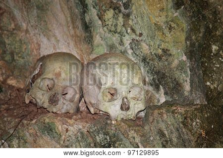 Skulls & Bones In A Burial Cave