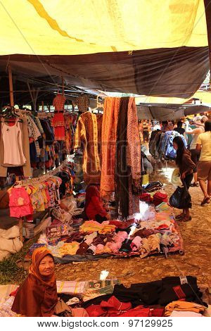 Traditional Street Market In Indonesia
