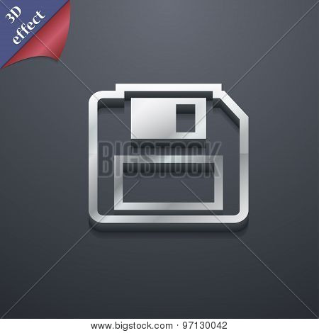 Floppy Disk Icon Symbol. 3D Style. Trendy, Modern Design With Space For Your Text Vector