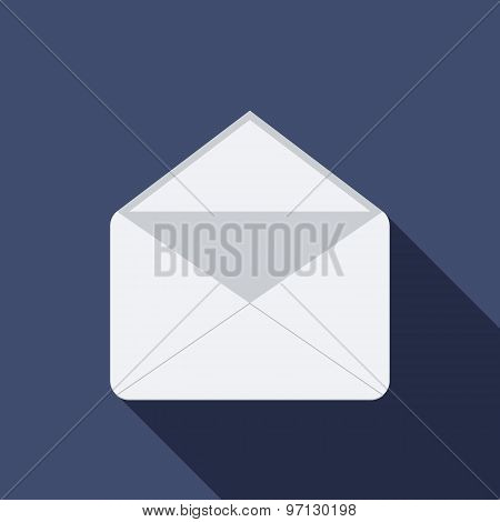 Open Mail Icon. Flat Vector Icon With Long Shadow Design Collection.