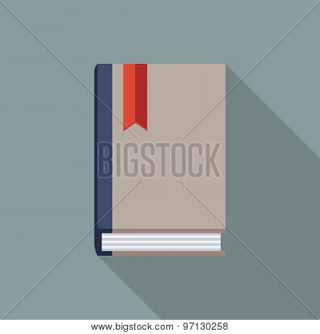 Book Icon. Flat Vector Icon With Long Shadow Design Collection.