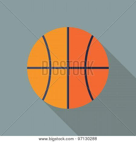 Basketball Icon. Flat Vector Icon With Long Shadow Design Collection.
