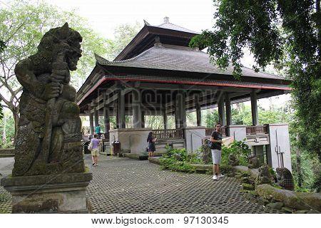 Monkey Statue In The Ubud Sacred Monkey Forest