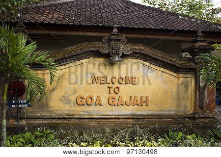 Welcome Sign To Goa Gajah