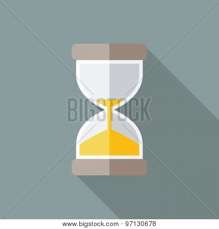 Hourglass Icon. Flat Vector Icon With Long Shadow Design Collection.