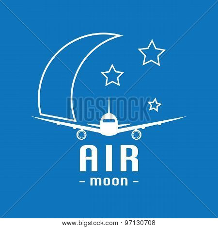 Vector Modern Minimalistic Airplane Logo. Moon And Stars Background.