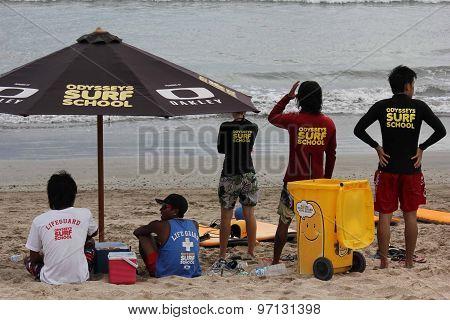 Surf School Staff On Kuta Beach