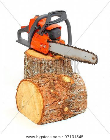 Cut logs fire wood and chainsaw isolated on white background. Renewable resource of a energy. Environmental concept.