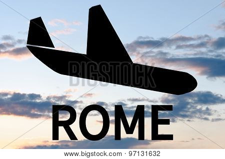 Airplane landing on Rome airport