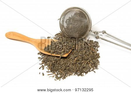 Green Tea And Tea Strainer