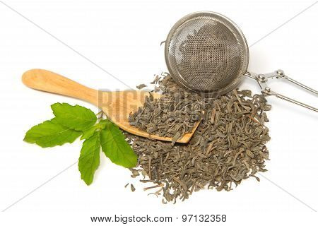 Green Tea And Tea Strainer With Herbal Leaf