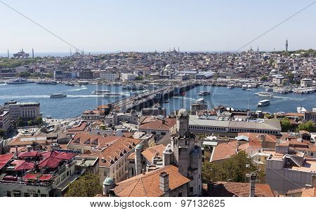 ISTANBUL, TURKEY - MAY 11, 2015: Photo of View of the city and the bridge across the Golden Horn.