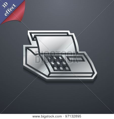 Cash Register Machine Icon Symbol. 3D Style. Trendy, Modern Design With Space For Your Text Vector