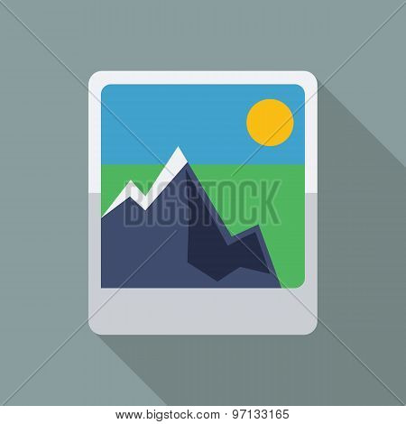 Picture Icon. Flat Vector Icon With Long Shadow Design Collection.