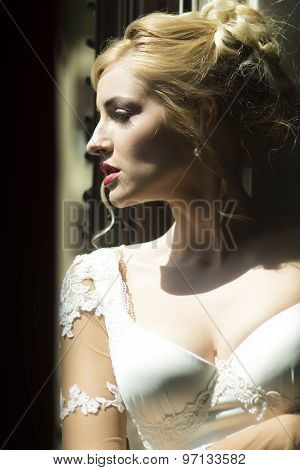 Closeup Of Pensive Bride