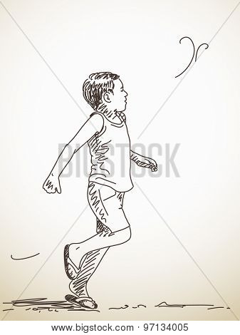 Sketch of running child, Hand drawn illustration