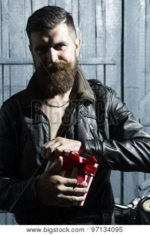 Cool Man With Present Box
