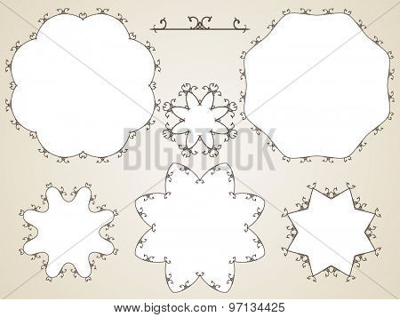 Ornamental calligraphic round frame, Vector set