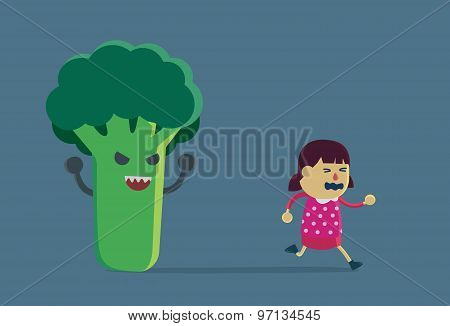 Little girl run away from broccoli