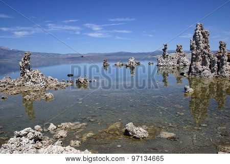 Mono Lake Tufa Formations With Reflections