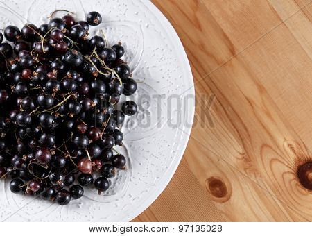 Fresh Black Currant in white dish On Wooden Table. Background