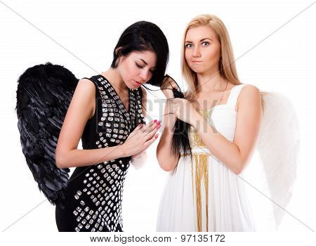 Beautiful Young Angel Pulls Black Angel's Hair