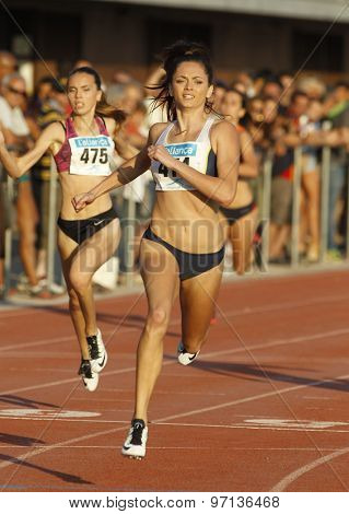 BARCELONA - JULY, 8: Australian athlete Ella Nelson during 200 meters of the Athletics International Meeting of Catalan Federation at the Serrahima Stadium on July 8 2015 in Barcelona, Spain