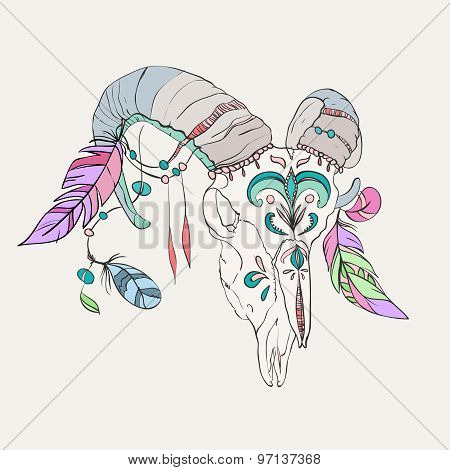 Hand drawn ram skull with colorful feathers.