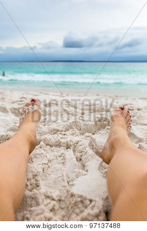 Relaxing on beach