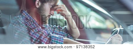 Depressed Young Driver