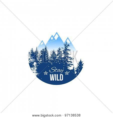 Stay wild label on white background