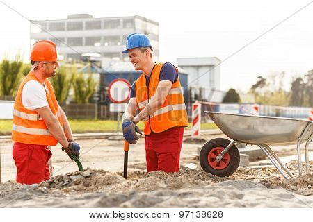 Working At The Road Construction