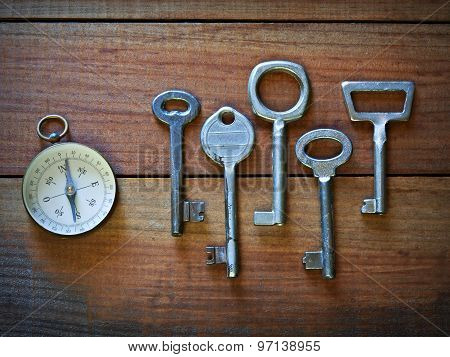 Old keys and a compass