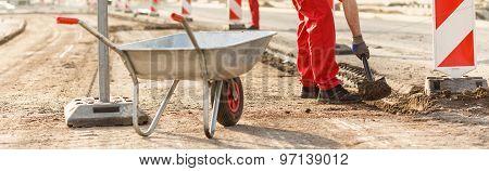 Wheelbarrow At The Road Construction