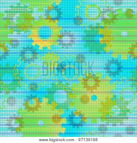 Seamless Mechanics Colorful Background