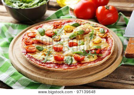 Fresh Tasty Pizza On Brown Wooden Background