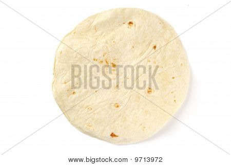Single Tortilla Shell On White