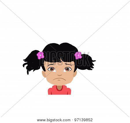 cartoon sad girl face illustration