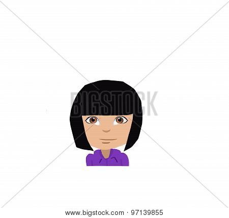 cartoon girl neutral face