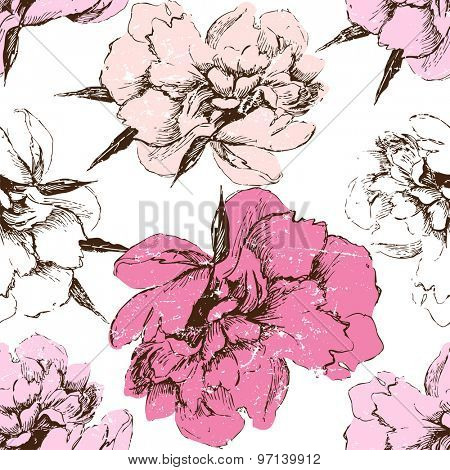 Seamless color peony pattern on white background