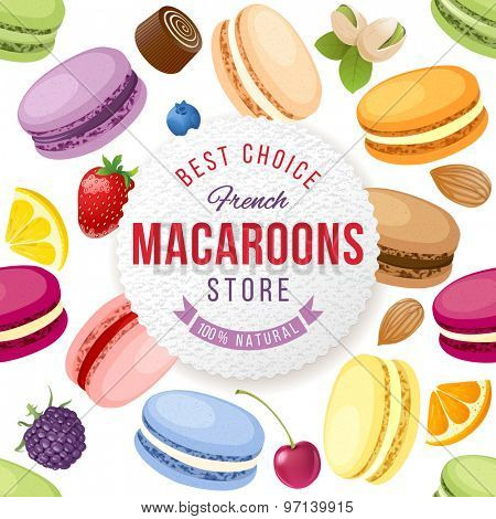 Macaroons store emblem over background with fresh and tasty macaroons