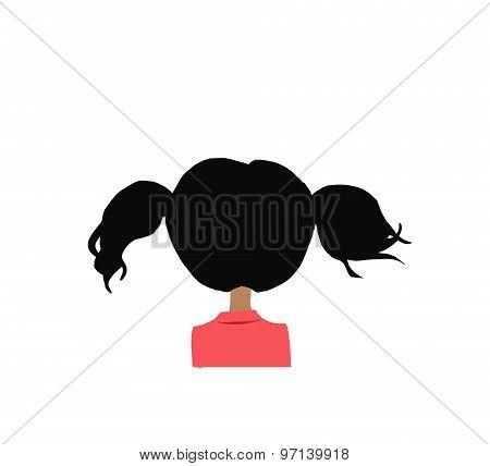 cartoon girl back head illustration