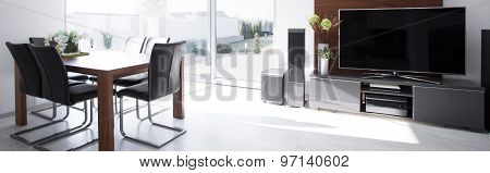Dining Area With Television