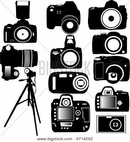 Cámara de fotos digital y Vector de trípode