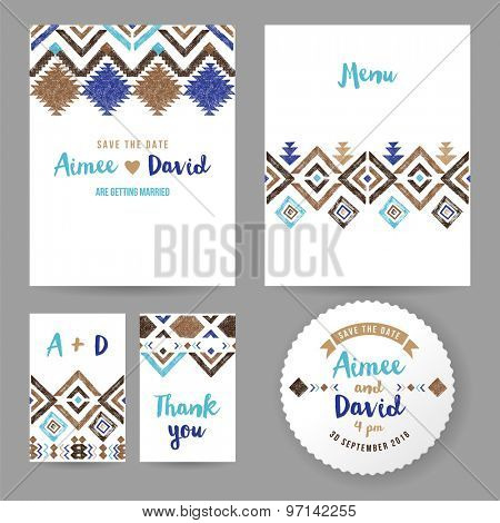 Wedding cards with hand drawn tribal ornaments