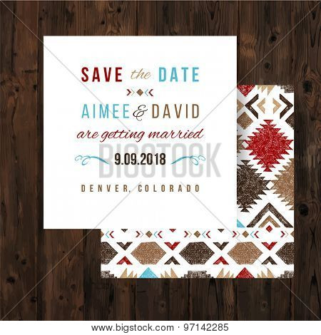 Save the date card with hand drawn tribal ornaments