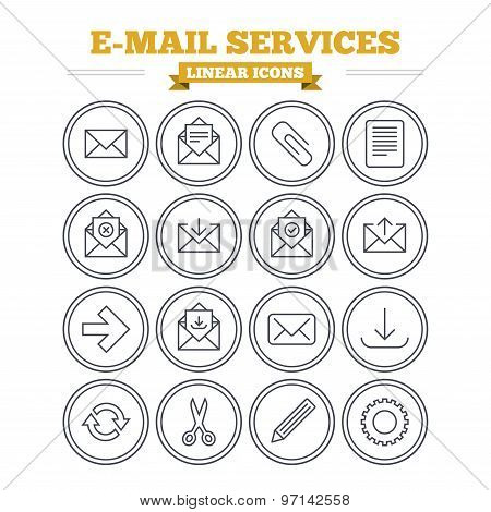 Mail services linear icons set. Thin outline signs. Vector