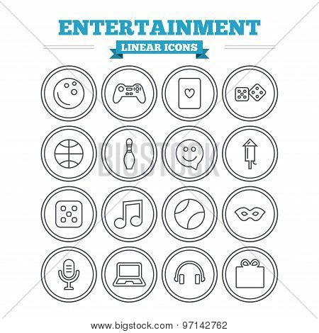 Entertainment linear icons set. Thin outline signs. Vector
