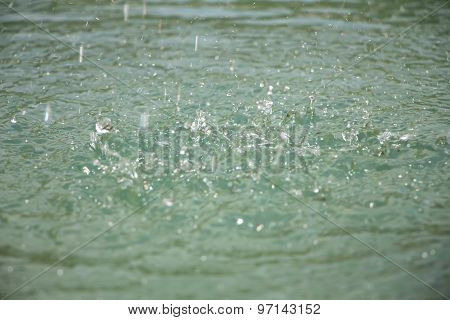 Image small drops on surface of water
