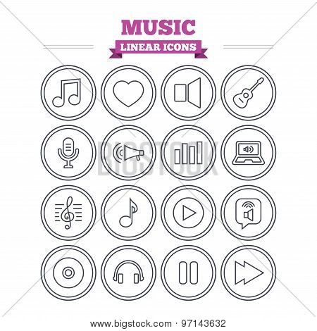 Music linear icons set. Thin outline signs. Vector